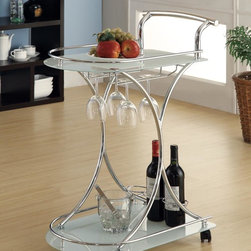 Coaster - Chrome Contemporary Kitchen Cart - This serving cart features two frosted glass shelves, wine bottle and stemware rack and 4 casters for easy mobility. Metal accents are in a chrome finish.