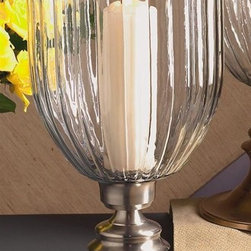 "Dessau Home - 21 in. Hurricane Candle Holder (Pewter) - Color: PewterMade from brass. Made in India. 21.5 in. HValue has always been an essential ingredient at Dessau Home. ""Essentials"" represents a collection of well-appointed yet affordable home furnishings with a unique traditional styling that appeals to most transitional and contemporary home decorating needs."