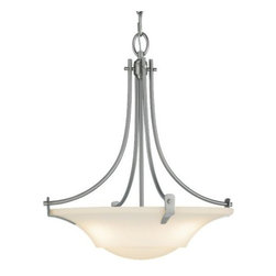 Feiss - Barrington Bowl Pendant No. 2246 by Feiss - The Feiss Barrington Bowl Pendant No. 2246 is a petite ceiling fixture that will add a sleek and sweeping decorative accent as well as a soft, warm glow into transitional or soft contemporary settings of any size. The bowl-shaped opal etched glass shade is securely held within a uniquely arched frame finished in either Brushed Nickel or Oil Rubbed Bronze. Feiss lighting boasts an award-winning team of industrial, graphic and interior designers and engineers that guarantee only the finest materials are used for their products.