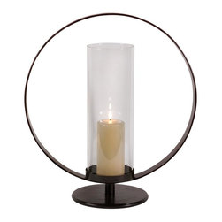 IMAX Worldwide Home - Occento Hurricane - Contemporary black metal circle.  with glass hurricane candle holder. Candleholders. 18.5 in. H x 17 in. W x 6 in. D. 65% Wrought Iron, 35% Mirror