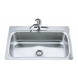 KOHLER - KOHLER K-3373-1-NA Verse Single-Basin Self-Rimming Kitchen Sink - KOHLER K-3373-1-NA Verse Single-Basin Self-Rimming Kitchen Sink with Single-Hole Faucet Punching