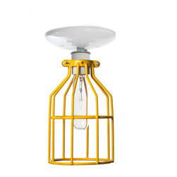 Industrial Light Electric - Industrial Ceiling Mount Light - Yellow Wire Cage Lighting, White, 60 Watt Tube - This Custom Made to Order Ceiling Mount Cage Light comes with
