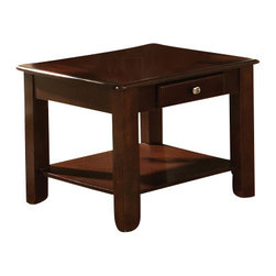 Steve Silver - Nelson End Table - Cherry - Bring style and function into your home with the Nelson collection. This end table features one drawer for storage, and a bottom shelf for magazines all wrapped in cherry finish.