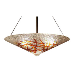 George C. Scott Studios - Amber Bramble Chandelier - This fused and slumped glass light shade is handmade. The colorful glass ornamentation is cut and arranged by hand, then fired at high temperature in an electric kiln.
