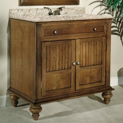 Kaco Barbados Single Bathroom Vanity in Brown Cherry with Optional Size and Coun - With the Kaco Barbados Single Bathroom Vanity in Brown Cherry with Optional Size and Countertop, your bathroom decor-style gets an instant makeover. Classical influences are evident in its fluted pilasters and rounded bun feet. Storing all your bathroom essentials is convenient in its spacious top drawer and two-door cabinet. Moreover, it's made from solid hardwood, which makes it tough and long-lasting. The water-resistant finish keeps this vanity well-protected. A leveling feature on its legs allows you to steady this vanity on uneven floors.Kaco International's partnering with Sherwin-Williams and its high-end furniture finishing capabilities is undoubtedly a winning combination.About Kaco International Inc. Manufacturing and importing high-quality kitchen islands and bathroom vanities, Kaco international Inc. provides premium top quality products. Hailing from North Carolina with over 30 years of service experience, they bring an unmatchable presence to the industry and strive to keep their customers completely satisfied by providing top-notch service and product quality.