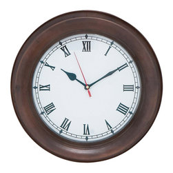 Solid Metal Wall Clock with Thick Dark Metal Frame - Bring that extra visual appeal to your room with this gorgeous wall clock. This clock is sturdily designed with high quality metal that can endure through the years. This circular clock has a thick dark metal frame that exudes a bold and charming look. The hand denoting seconds is red in color, and it gracefully circles through the clock adding to the bright and colorful display. The clock adds value to the wall space and can be hung conveniently to enhance the wall decor in your study room or sitting room. You can rely on this clock to have the accurate time day after day, and enjoy the aesthetic appeal it brings to the living space. It will help you impress your guests with your sophisticated taste and win you compliments. Being crafted of sturdy metal and thick dark metal frame, it ensures durability and hassle-free, long term use. This is a good gifting option too.. It comes with following dimensions