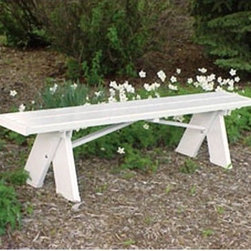 Dura-Trel Selena Backless 6-ft. Vinyl Bench - This beautiful backless bench is constructed of 100 percent PVC vinyl. It contain the highest concentration of titanium dioxide available which protects against harmful UV rays. This white backless Dura-Trel Selena 6-ft. Vinyl Bench will brings comfort and good times to the outdoors. Dimensions: 72W x 11D x 18H inches. About Dura-Trel Inc.Durability versatility reliability and quality. These are the cornerstones of Dura-Trel's commitment to you. Our lawn and garden selections are an unbeatable and maintenance-free enhancement that can help transform the outdoors from average to outstanding. As you would expect from a national corporation with over 25 years of experience like ours we offer competitive pricing and quick delivery. But we also have something our competitors don't - a custom production process that blends the efficiency of large-scale manufacturing with the time-honored qualities of hand-crafting traditions.