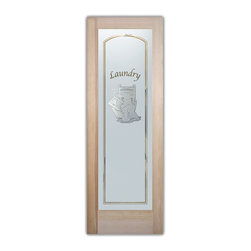 Sans Soucie Art Glass - Thru the Wringer – Laundry Room Door – 3D - Laundry Room Door with Sandblast Etched Glass - Thru the Wringer – Laundry Room Door – 3D - Quality, hand-crafted sandblast etched glass.