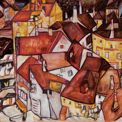 """overstockArt.com - Schiele - Crescent of Houses - Egon Schiele's landscape, Crescent of Houses, also called """"The Small City V"""". It was originally created in 1915, today it has been reproduced in beautiful color and detail by hand with oils on canvas . Egon Schiele, painter and commercial artist, was born in 1890 in Austria. Schiele was strongly influenced by the art nouveau style of his friend Gustav Klimt , who often encouraged younger artists. His style matured into a form of expressionism that often featured controversial imagery or symbolism of death. In 1918, Schiele died in Vienna just three days after the death of his pregnant wife Edith. His work continues to be exhibited throughout the world. Why not view this intriguing artwork in your own home? This thought-provoking image is sure to attract many admirers!"""