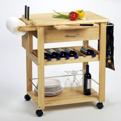 """Winsome - Basics Kitchen Cart - An organized kitchen is the key to a happy cook. This kitchen cart from Winsome will help keep your kitchen in order and with 5 square feet of extra work space cooking a larger meal becomes a reality. The 6 bottle wine rack, pull out cutting board, utility drawer and storage shelf help you stay organized and keep the things you need at hand. With a simple design and finish this kitchen cart will make a great addition to any kitchen. Features: -Utility drawer.-Underneath storage shelf.-Pull out cutting board.-Knife block.-4 Casters.-Solid beechwood construction.-Natural finish.-Basics collection.-Product Type: Kitchen cart.-Collection: Basics.-Base Finish: Natural.-Counter Finish: Natural.-Distressed: No.-Powder Coated Finish: No.-Gloss Finish: No.-Base Material: Solid and composite wood.-Counter Material: Solid and composite wood.-Hardware Material: Stainless steel.-Solid Wood Construction: No.-Stain Resistant: No.-Warp Resistant: No.-Exterior Shelves: No.-Drawers Included: Yes -Number of Drawers: 1.-Push Through Drawer: No.-Dovetail Joints: No.-Drawer Dividers: No.-Drawer Handle Design: Pull Handle.-Silverware Tray : No..-Cabinets Included: No.-Towel Rack: Yes -Removable Towel Rack: No..-Pot Rack: No.-Spice Rack: No.-Cutting Board: Yes.-Drop Leaf: No.-Drain Groove: No.-Trash Bin Compartment: No.-Stools Included: No.-Casters: Yes -Locking Casters: Yes.-Removable Casters: Yes..-Wine Rack: Yes -Wine Rack Capacity: 5.-Removable Wine Rack: No..-Stemware Rack: No.-Cart Handles: No.-Finished Back: Yes.-Weight Capacity: 50 lbs.-Swatch Available: No.-Commercial Use: No.-Recycled Content: 0 % .-Eco-Friendly: No.Specifications: -6 Bottle wine rack.-2 Towel bars.-ISTA 3A Certified: No.Dimensions: -Overall Height - Top to Bottom: 34"""".-Overall Width - Side to Side: 36.34"""".-Overall Depth - Front to Back: 20.47"""".-Width Without Side Attachments: 27"""".-Height Without Casters: 32"""".-Countertop Thickness: 0.94"""".-Countertop Width - Side to Side: 27"""".-Count"""