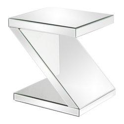 Howard Elliott - Howard Elliott 11092 Z-Shaped Mirrored End Table - Z-Shaped Mirrored End Table by Howard Elliott This Z-Shaped Mirrored End Table offers both function and style. End Table (1)