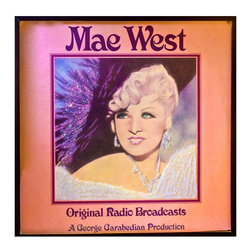"Glittered Vintage Mae West Original Radio Broadcasts Album - Glittered record album. Album is framed in a black 12x12"" square frame with front and back cover and clips holding the record in place on the back. Album covers are original vintage covers."