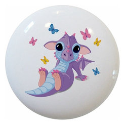 Carolina Hardware and Decor, LLC - Baby Dragon with Butterflies Ceramic Knob - 1 1/2 inch white ceramic knob with one inch mounting hardware included.  Great as a cabinet, drawer, or furniture knob.  Adds a nice finishing touch to any room!
