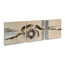 """Vertuu Design - 'Summer Charm' Artwork (Set of 3) - Hand-painted on beige linen, the """"Summer Charm"""" Artwork combines neutral tones and eclectic designs for a soft, but intriguing look. Featuring gray lines, a sunburst shape and subtle script, this set of three pieces pairs well with eclectic decor. Display the pieces individually or group them for a cohesive effect."""