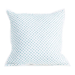 Little Auggie - Cross Stitch Quilted Decorative Pillow Cover in Ocean - Cross Stitch Quilted Decorative Pillow in Ocean
