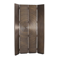 Arteriors - Epicenter Room Screen - Divide and conquer! This mesmerizing vintage brass screen uses its eclectic charm, functionality and whimsical wave pattern to bring out positive decorative vibes. Use it to divide a great room into two separately functioning spaces.