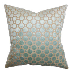 None - Kostya Light Blue Geometric 18-inch Feather and Down Filled Pillow - For a sleek urban look,adorn your home with this charming throw pillow. Made from high-quality velvet material,this accent pillow features a a modern geometric pattern and a down/feather blend inside.
