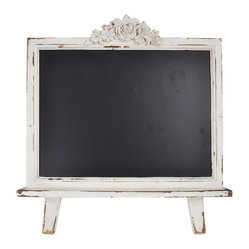 "Enchante Accessories Inc - Distressed  Wood Framed Table Top Chalkboard Sign 21.5""x19"" (Distressed White) - This message board features a distressed white wooden framed chalkboard."