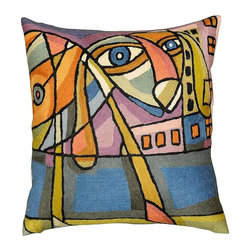 "Modern Wool - Picasso City Dog Pillow Cover Cubism Hand Embroidered 18"" x 18"" - Picasso city dog pillow cover – This Picasso inspired contemporary city dog cushion cover is hand embroidered using chain stitch. Unique design and Picasso cubism make this pillow artful and must for any modern home. It would make an exciting accent pillow for your couch, sofa or home office. Give it as a gift to your family and friends who love dogs or decorate your home with this modern dog pillow. Expertly handcrafted chain-stitch embroidery with a design inspired by the works of modern artist. Create a vibrant point of interest for your décor."