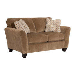 Broyhill - Broyhill Maddie Microfiber Mocha Loveseat with Affinity Wood Finish - Broyhill - Loveseats - 65171Q - About This Product:
