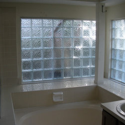 Glass Block Bathroom Windows - These glass block windows used the Icescapes higher privacy pattern because they are on the first floor of the home.