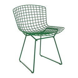 """Knoll - Bertoia Side Chair - With his iconic seating collection, Harry Bertoia transformed industrial wire rods into a new furniture form. The events that made this work possible began a decade earlier at Cranbrook Academy of Art when Bertoia met Florence Knoll Bassett (then Florence Schust). Years later, the Italian-born designer was invited to work for Florence and her husband Hans Knoll. Bertoia was given the freedom to work on whatever suited him, without being held to a strict design agenda, and the result of this arrangement was the Bertoia Seating Collection (1952). Featuring a delicate filigreed appearance that's supremely strong, these airy seats are sculpted out of steel rods. In his art, Bertoia experimented with open forms and metal work, and these chairs were an extension of that work. """"If you look at the chairs, they are mainly made of air, like sculpture,"""" said Bertoia. """"Space passes through them."""" After designing his seating collection, Bertoia returned to focusing mostly on sculpture. His work was often used in projects by Eero Saarinen (another Cranbrook friend), notably at MIT and the Dulles International Airport. Manufactured by Knoll according to the original and exacting specifications of the designer. Made in Italy. The White, Black and Green frames can be used outdoors with limited exposure to the elements. The Knoll logo is stamped into the base of the Chair."""