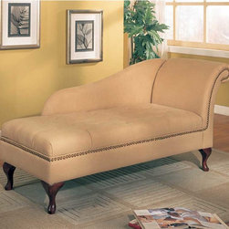 Coaster - Cream Transitional Chaise - This beautiful microfiber chaise lounger comes in two color options (brown and tan) to match any d?cor. Flip open seat for added storage space and is adorned with nailhead trim. Feet in cherry finish.
