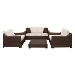 International Home Miami - Atlantic Oxford Deep Seating 4-Piece Patio Set in Off-White - Great quality, stylish design patio sets, made entirely of high quality resin. No metal parts. I won't rust. Polyester cushion with water repellant treatment. Enjoy your patio with elegance all year round with the wonderful Atlantic outdoor collection.