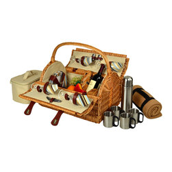 """Picnic At Ascot - Yorkshire Picnic Basket for Four w/Blanket and Coffee Set, Wicker/Sc Stripe - Unique hand crafted deluxe picnic basket in full reed willow with attractive dome top shape & top carry handle.  Includes a premium picnic set for four with ceramic plates, matching cotton napkins, glass wine glasses, stainless steel flatware, corkscrew, and no spill salt & pepper shakers. Also includes a convenient food cooler, coffee set with stainless steel coffee flask and mugs, and fleece 50"""" x 60"""" blanket with carrier."""