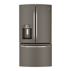 GE® ENERGY STAR® 26.3 Cu. Ft. French-Door Refrigerator - This refrigerator has Internal controls with actual-temperature display, TwinChill™ evaporators, Advanced filtration system, Showcase LED lighting and QuickSpace™ shelf.