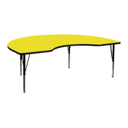 Flash Furniture - Flash Furniture Accent Table X-GG-P-H-LEY-YNDIK-6984A-UX - Flash Furniture's Pre-School XU-A4896-KIDNY-YEL-H-P-GG warp resistant high pressure laminate kidney activity table features a 1.25'' top and a high pressure laminate work surface. This Kidney Shaped High Pressure Laminate activity table provides an extremely durable (no mar, no burn, no stain) work surface that is versatile enough for everything from computers to projects or group lessons. Sturdy steel legs adjust from 16.25'' - 25.25'' high and have a brilliant chrome finish. The 1.25'' thick particle board top also incorporates a protective underside backing sheet to prevent moisture absorption and warping. T-mold edge banding provides a durable and attractive edging enhancement that is certain to withstand the rigors of any classroom environment. Glides prevent wobbling and will keep your work surface level. This model is featured in a beautiful Yellow finish that will enhance the beauty of any school setting. [XU-A4896-KIDNY-YEL-H-P-GG]