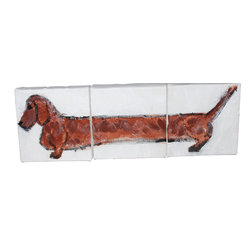 """Stark Interiors - Miniature 3 Piece Dachshund Painting - Nursery Art, Red - Adorable handmade 3 piece dachshund painting- Each block is 4""""x4""""- making a foot long weiner dog for your child's nursery or your home. They can be  hung or laid out like blocks- Any color available."""