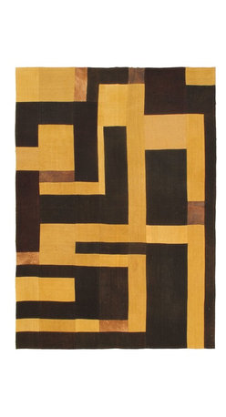 """Torabi Rugs - Flat-weave Bohemian Black Wool Kilim 5'7"""" x 7'10"""" - This patchwork rug is made of vintage classic kilim pieces which are sewn together to form a truly one of a kind larger rug. This quirky and eclectic piece is painstakingly hand stitched. Light weight, this can also be used as a bedspread or throw. A colorful and updated vision of style, color and texture."""