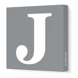 """Avalisa - Letter - Upper Case 'J' Stretched Wall Art, 28"""" x 28"""", Gray - Spell it out loud. These uppercase letters on stretched canvas would look wonderful in a nursery touting your little one's name, but don't stop there; they could work most anywhere in the home you'd like to add some playful text to the walls. Mix and match colors for a truly fun feel or stick to one color for a more uniform look."""
