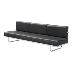 Lemoderno - Sofa in Leather by Lemoderno, Black Leather - The Le Corbusier LC5 Sofa Bed changes into a bed by pivoting the back cushions. The LC5 sofa features a custom mechanism that quickly converts this piece from a 3 seat deluxe sofa to a twin bed. Our reproduction of the LC5 features a polished, stainless steel frame and high density foam cushions, covered with Soft genuine leather. This item is a high quality reproduction of the original.
