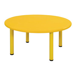 """Ecr4kids - Ecr4Kids Kids Playroom Classroom 45"""" Round Resin Table Yellow - Tabletop made of fade-resistant Polyethylene that will not crack, chip or peel. reinforced steel frame. Legs adjust in 1"""" increments from 13.25"""" to 22.25"""". Choose from one of our Soft Tone Colors.Easy to clean surface, use a damp cloth or sponge using warm water & mild soap. Wipe dry. Use only a non-abrasive general purpose cleanser. Abrasive or alcohol based cleansers will mark/stain the table surface. Style Notes: Cornflower Blue (BL)"""