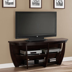 None - Archer 58-inch Espresso Media Center - Give your room a bold focal point with this sleek,brown TV stand from Archer. Made of solid wood,wood veneers,and MDF,this set has plenty of shelves for your entertainment accessories. With a 58-inch width,this stand will work with a variety of TVs.