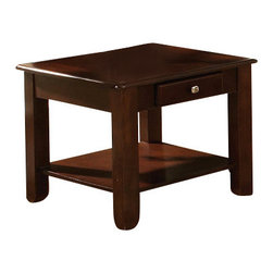 Steve Silver Furniture - Steve Silver Nelson End Table in Dark Wood - Nelson end table belongs to Nelson collection by Steve Silver Bring style and function into your home with the Nelson collection. This end table features one drawer for storage, and a bottom shelf for magazines all wrapped in cherry finish.