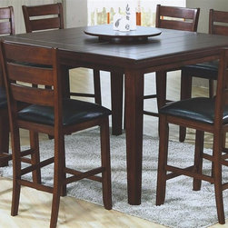 Monarch Specialties - Pub Dining Table - Stools not included. Square shape. Transitional style. Lazy Susan. Top grooved slat design. Made from hardwoods and premium wood veneers. Dark oak finish. 54 in. L x 54 in. W x 36 in. H (139 lbs.)This pub dining table offers rich design that invites a relaxed setting in your home. Lazy Susan make this perfect for an intimate dinner with family or for casual get-togethers.