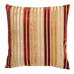 Pillow Decor - Pillow Decor - Velvet Multi Stripes Red 20 x 20 Throw Pillow - With its rainbow of soft velvet stripes in red, golden wheat, and cream, this beautiful accent pillow will add color and elegance to your home. The backing is a sturdy upholstery grade fabric in tan. The multi-color stripes offer the flexibility to tie in single or multiple accent colors throughout you home.
