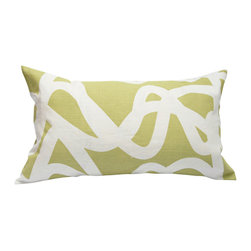 "Area Inc. - Current Pistachio Long Decorative Pillow 14X24"" - Area Inc. - Add a fun print to your couch or bed using the 14-by-24 inch Current Pistachio Decorative Pillow. Featuring a tangled white line pattern over a green linen background, this pillow has a bold look that pairs well with contemporary or eclectic decor. Includes a feather down insert."
