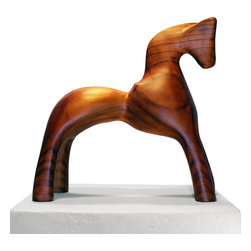 Wood Sculpture - Trojan Horse - -Handmade by artisans in Chile