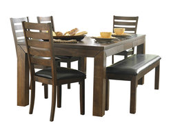 """Homelegance - Homelegance Eagleville 5-Piece Dining Room Set in Brown - Your dining area will become a comfortable and exquisite gathering place when you add this durable and stunning Eagleville collection. The versatile dining height table and counter height table in birch veneers feature butterfly leaf for convenient extra surface space, while substantial block table legs stand prominently to provide extra structural reinforcement. Chairs, 60"""" bench, and server are proportionally scaled to round up this offering."""