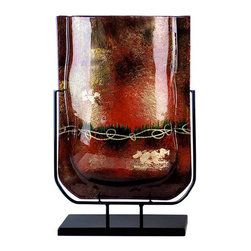Jasmine Art Glass - U Vase 20550 - This is a 19 inch, U-shaped vase, part o four Marron Vine series that features black, gold, red and maroon with gold hand painting details.  Stand included