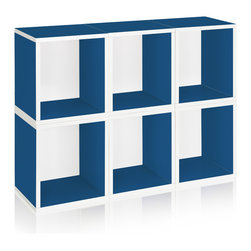 Way Basics - Way Basics Stackable Storage 6 Cubes Plus, Blue - These versatile storage cubes are a breeze to assemble: just peel the adhesive strips and stick them together. No tools or hardware needed! Each package contains six cubes, which can be assembled in any configuration you desire, and with your choice of several colors. No formaldehyde or VOCs, so they're safe for your family and the environment.
