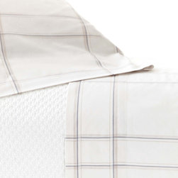 """Pine Cone Hill - PCH Tattersall Gray Pillowcases - The Tattersail pillowcases modernize timeless plaid with hairline stripes and a neutral colorway. This soft and comfortable accent by PCH dresses the bed with casual sophistication. Standard: 20"""" x 30""""; Set of 2; 100% cotton, 200-thread count; Gray and ivory; Designed by Pine Cone Hill, an Annie Selke company; Machine wash"""