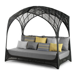 Kenneth Cobonpue - Kenneth Cobonpue Hagia Daybed - Skillfully crafted using sythetic fibers, the pieces in the Hagia collection are intricately hand-woven with a steel frame. Its airy and transparent personality stays true for its part for your outdoor enclave. Available in black or whitewashed finishes. Intended for outdoor use. Price includes shipping to the USA. Manufactured by Kenneth Cobonpue in the Philippines.