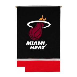 Sports Coverage - Sports Coverage NBA Miami Heat Wall hanging - NBA Miami Heat Wall hanging, screen-printed with bold logo and team colors will carry your NBA spirit into any room! This Wall hanging is a great gift for the ultimate fan or a great way to deck out the bedroom with your favorite team. Each Wall Hanging banner comes with wooden dowel at top and attached hanging cord. 100% Polyester.