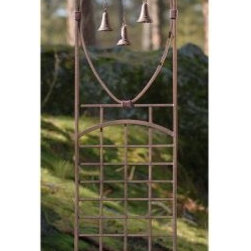 Oriental 5.5-ft. Iron 3 Bell Trellis - The Oriental 3-Bell Trellis features three real hat-shaped bells suspended from a drooping top rail into an open oval frame. The very nature of this garden trellis design leaves room for meditative thought. Numerous vertical and horizontal rungs form a lattice on the lower half. Use this trellis as its own garden art piece or as a support for vertical plant growth. The charcoal brown powder-coated finish suits a natural landscape while preserving the solid iron underneath. Comes with 12-inch spikes for stability.