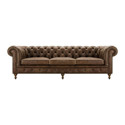 Wessex Leather Grand Sofa - Handcrafted in America, the Wessex Sofa, Chair and Ottoman encompass classic Old World British style and workbench artistry. Each piece is draped in the pure comfort and rustic beauty of our hand-distressed Bronco Whisky leather and framed in rows of hand-applied nails. As beautiful as it is comfortable, additional styling elements include classic rolled arms and diamond-tuft backs with leather buttons.